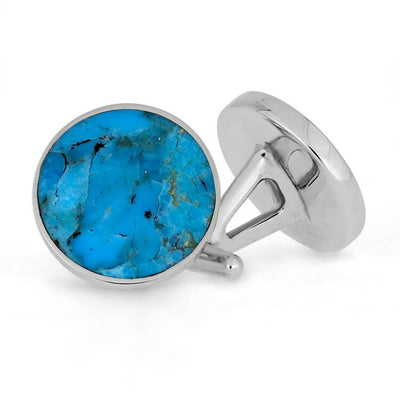 Turquoise Cuff Links Fashioned in Sterling Silver-SIG3043