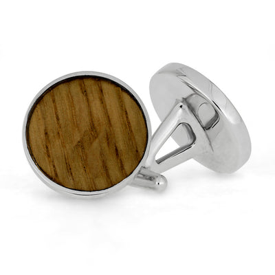Round Whiskey Barrel Oak Wood Cuff Links, In Stock-SIG3044 - Jewelry by Johan