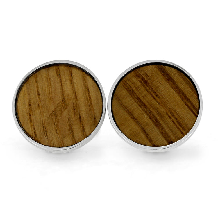Whiskey Barrel Oak Wood Cuff Links, Sterling Silver Men's Accessories-SIG3044