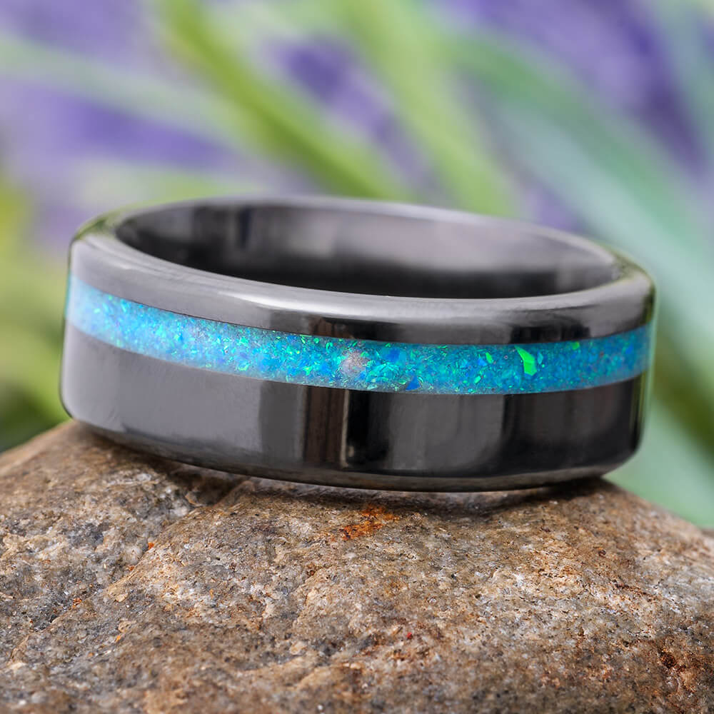 Black Ring with Synthetic Opal