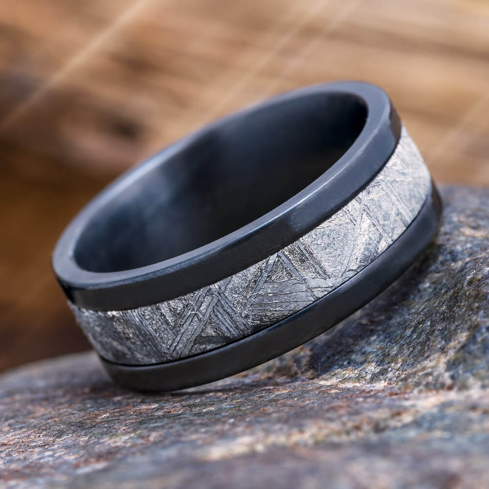 Meteorite Wedding Band in Black Zirconium