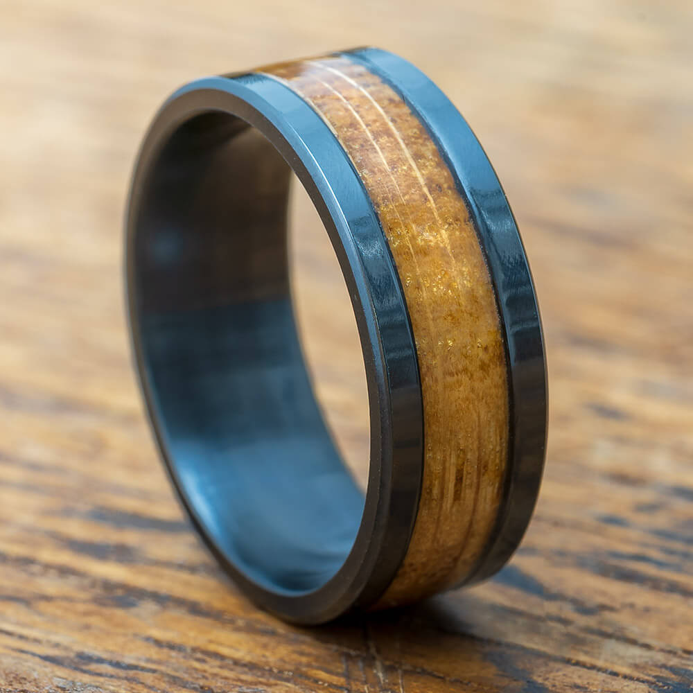 Black Zirconium Wedding Band with Whiskey Barrel Oak