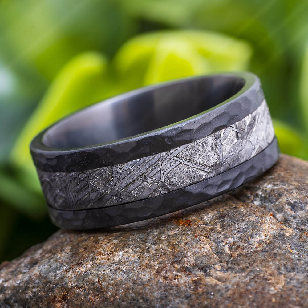 Hammered Meteorite Wedding Band