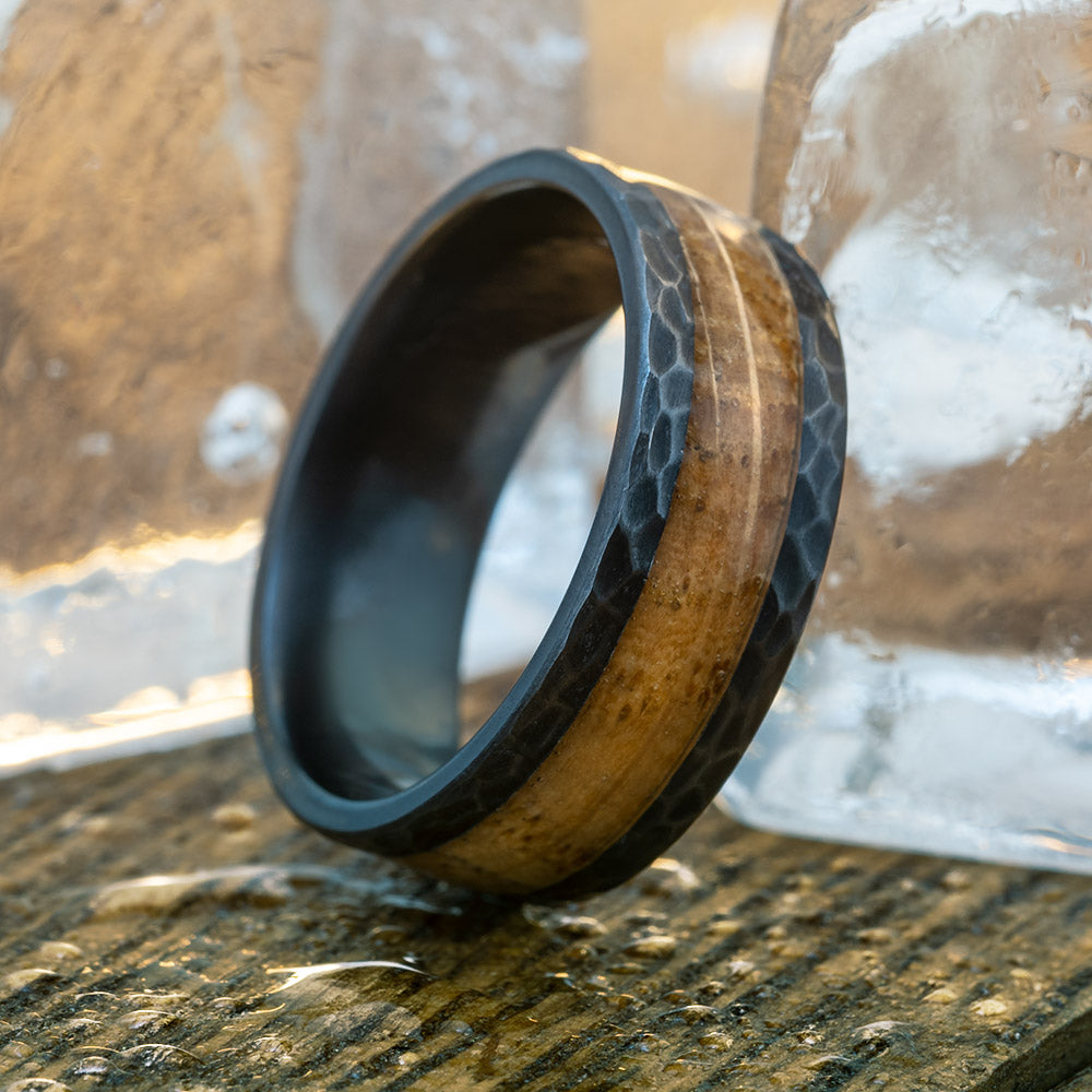Men's Whiskey Barrel Oak Wood Wedding Band