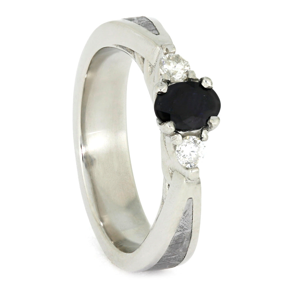 Sapphire and Diamond Platinum Engagement Ring with Meteorite Accent