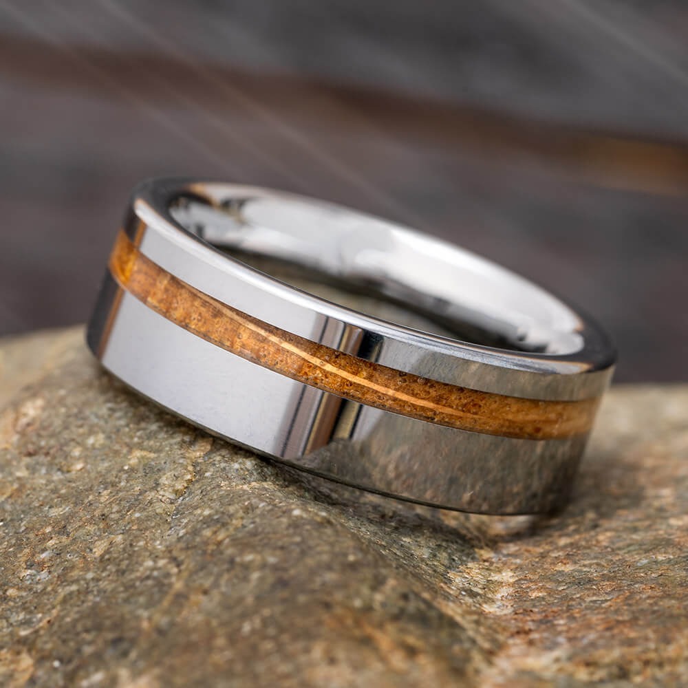 Tungsten Ring with Whiskey Wood