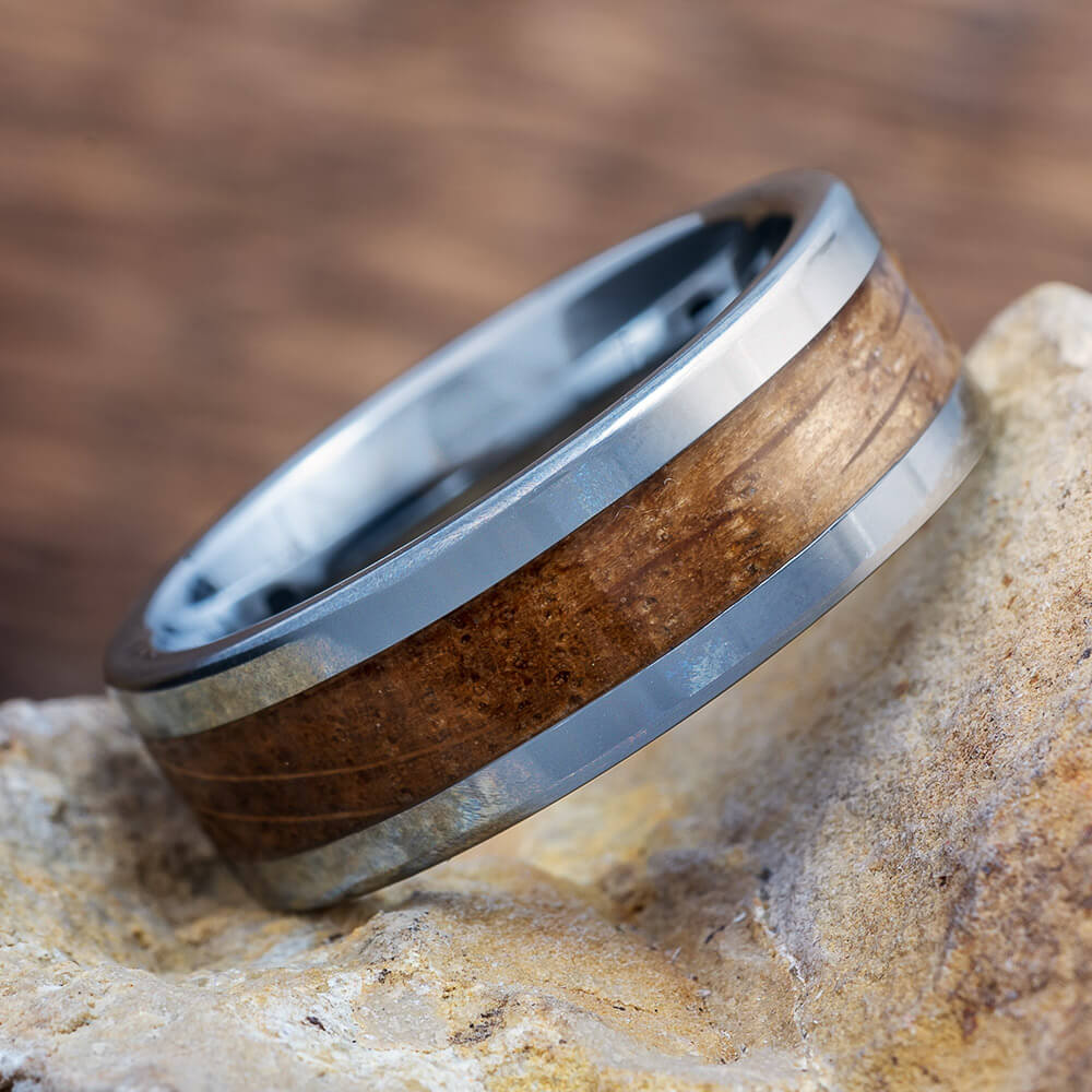 Tungsten Ring with Whiskey Barrel Oak Wood