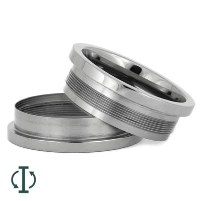 Interchangeable Core B, 8MM Titanium Ring with 1.5MM Edges-INTCORE-B - Jewelry by Johan