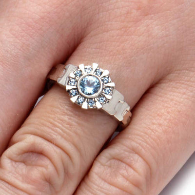 14k White Gold Iron Man Ring, Aquamarine Arc Reactor Ring-1911 - Jewelry by Johan