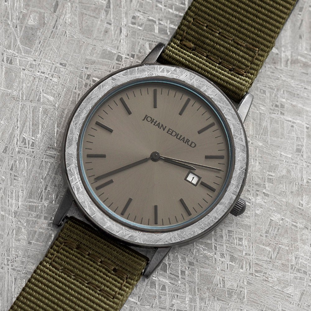 Meteorite Watch With Green Nylon Strap, Matte Black Watch-JE2006-4