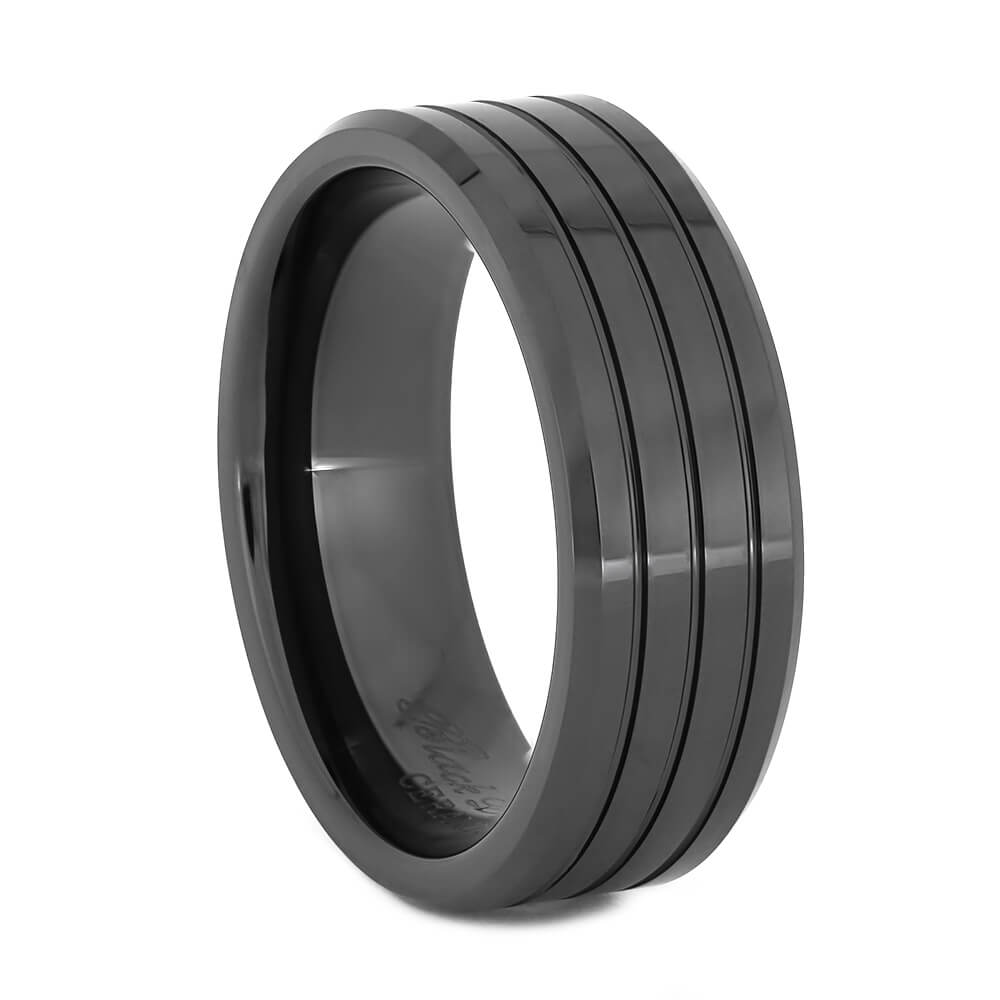 Mens Wedding Band in Black Ceramic with Grooves-JIRMCA004506 - Jewelry by Johan