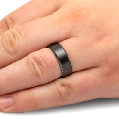 Mens Wedding Band with Satin Finish, Black Ceramic Ring-JIRMCA004517 - Jewelry by Johan
