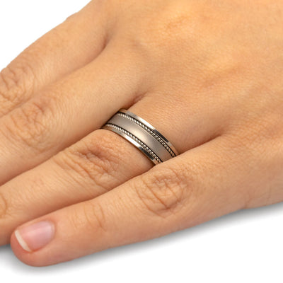 Mens Wedding Band, Flat Titanium Band with Two Steel Rope Inlays-JIRMTA000825 - Jewelry by Johan
