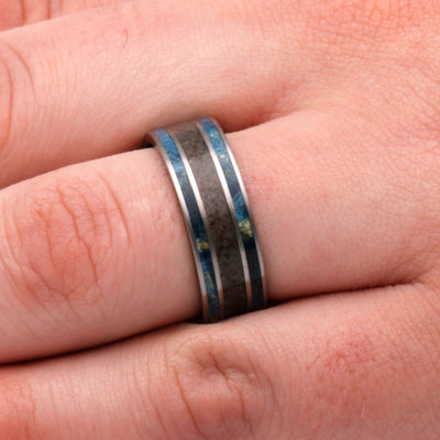Blue Wood Men's Wedding Band With Crushed Dinosaur Bone-2658 - Jewelry by Johan