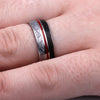 Dinosaur Meteorite Ring in Titanium Band with Red Enamel-1758 - Jewelry by Johan