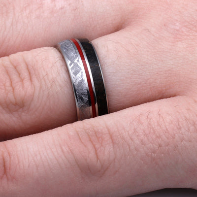 Ring in Titanium Band with Red Enamel
