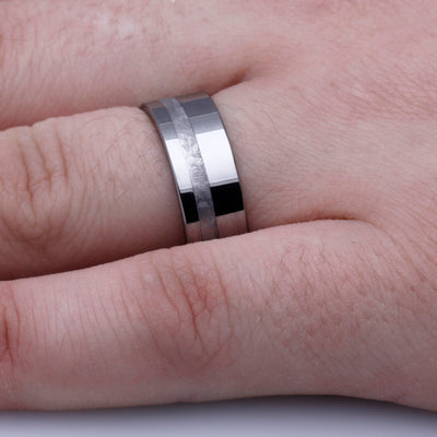 Tungsten Meteorite Wedding Band For Men-3204 - Jewelry by Johan