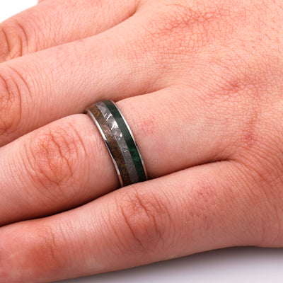 Titanium Ring With Meteorite, Dinosaur Bone, And Green Wood-3190 - Jewelry by Johan