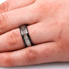 Black Ceramic Ring with Antler Inlay and Beveled Edges-1756 - Jewelry by Johan