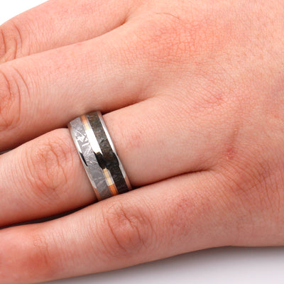 Dinosaur Bone Ring, Meteorite Men's Wedding Band With Yellow Gold Center-3585 - Jewelry by Johan