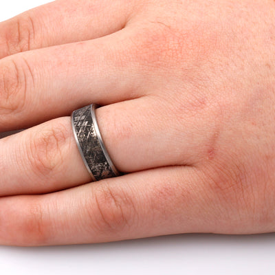 Mimetic Meteorite Ring, Engraved Titanium Ring-2046 - Jewelry by Johan