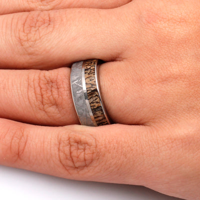 Meteorite Ring, Dinosaur Bone Wedding Band With Whiskey Barrel Sleeve-3426 - Jewelry by Johan