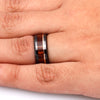 Caribbean Rosewood Wedding Band With Rose Gold Accent In Black Ceramic-2694 - Jewelry by Johan