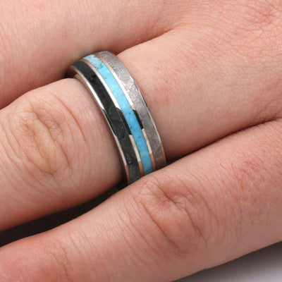 Unique Meteorite And Dinosaur Bone Ring for Men, Turquoise Ring With Mokume Sleeve-3650 - Jewelry by Johan