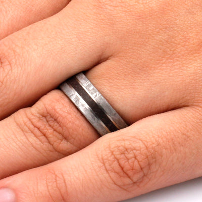 Mens Fossil Ring With Gibeon Meteorite Edges, Titanium Wedding Band-SIG3026 - Jewelry by Johan