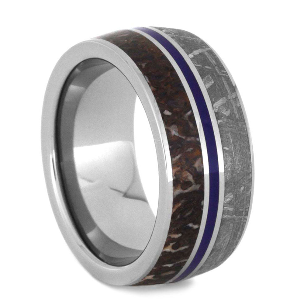 Meteorite And Dinosaur Bone Men's Wedding Band With Blue Enamel In Titanium