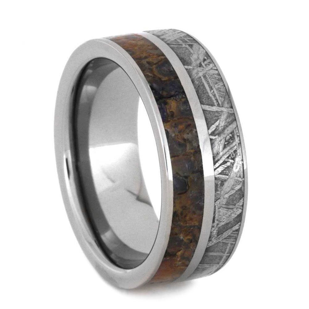 Titanium Ring With Meteorite and Dinosaur Bone