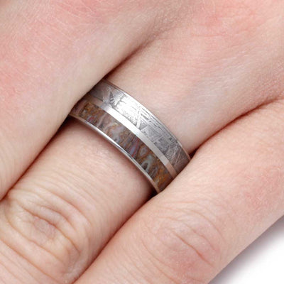 Titanium Ring With Meteorite and Dinosaur Bone-SIG3011 - Jewelry by Johan