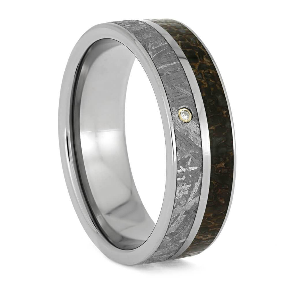 Dinosaur Bone Wedding Band With A Diamond In Meteorite-1835 - Jewelry by Johan