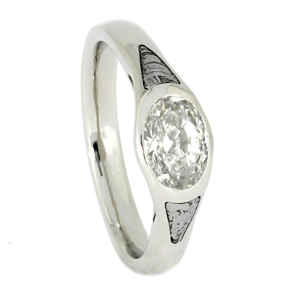 Oval Diamond Cathedral Engagement Ring in Platinum with Meteorite Accent-4007 - Jewelry by Johan