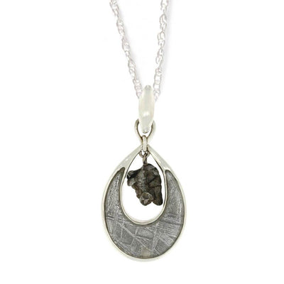Oval Meteorite Dangle Pendant with Sterling Silver Necklace