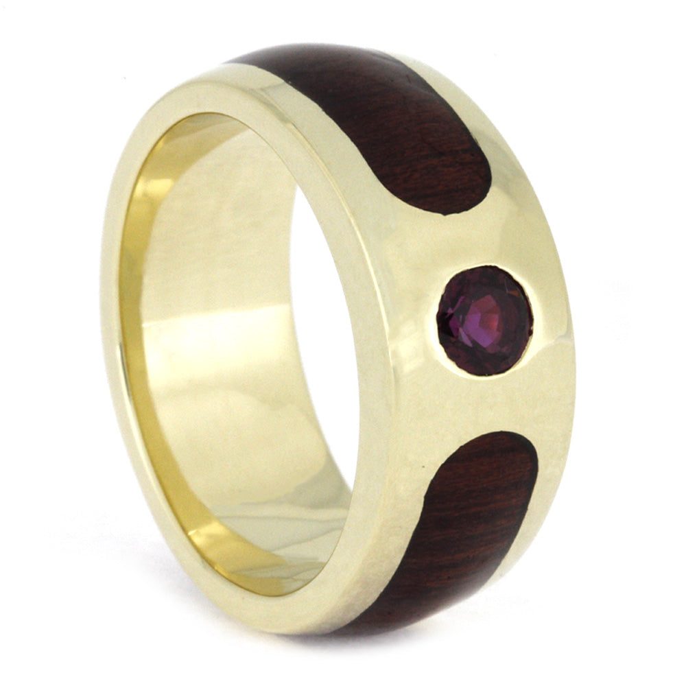Ruby Wedding Band, 10k Yellow Gold with Partial Bloodwood-3971 - Jewelry by Johan