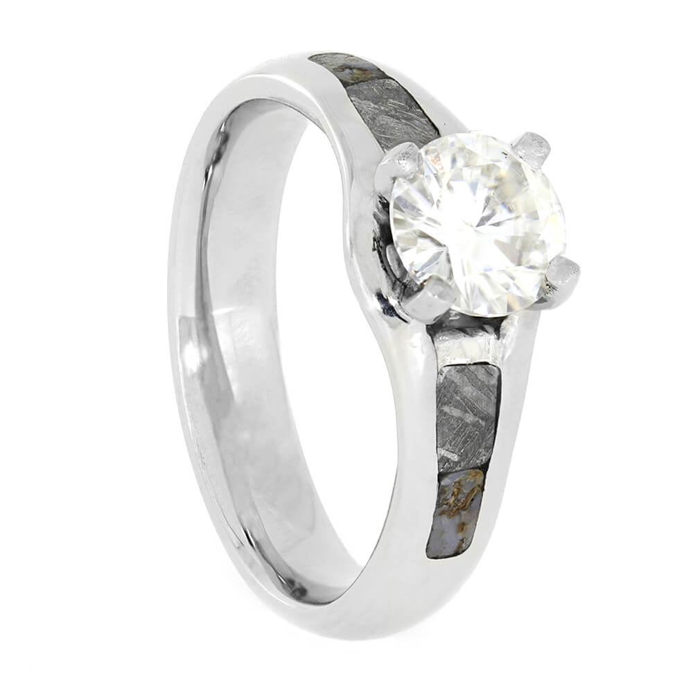 Solitaire Moissanite Engagement Ring with Meteorite and Dinosaur Bone-3968 - Jewelry by Johan