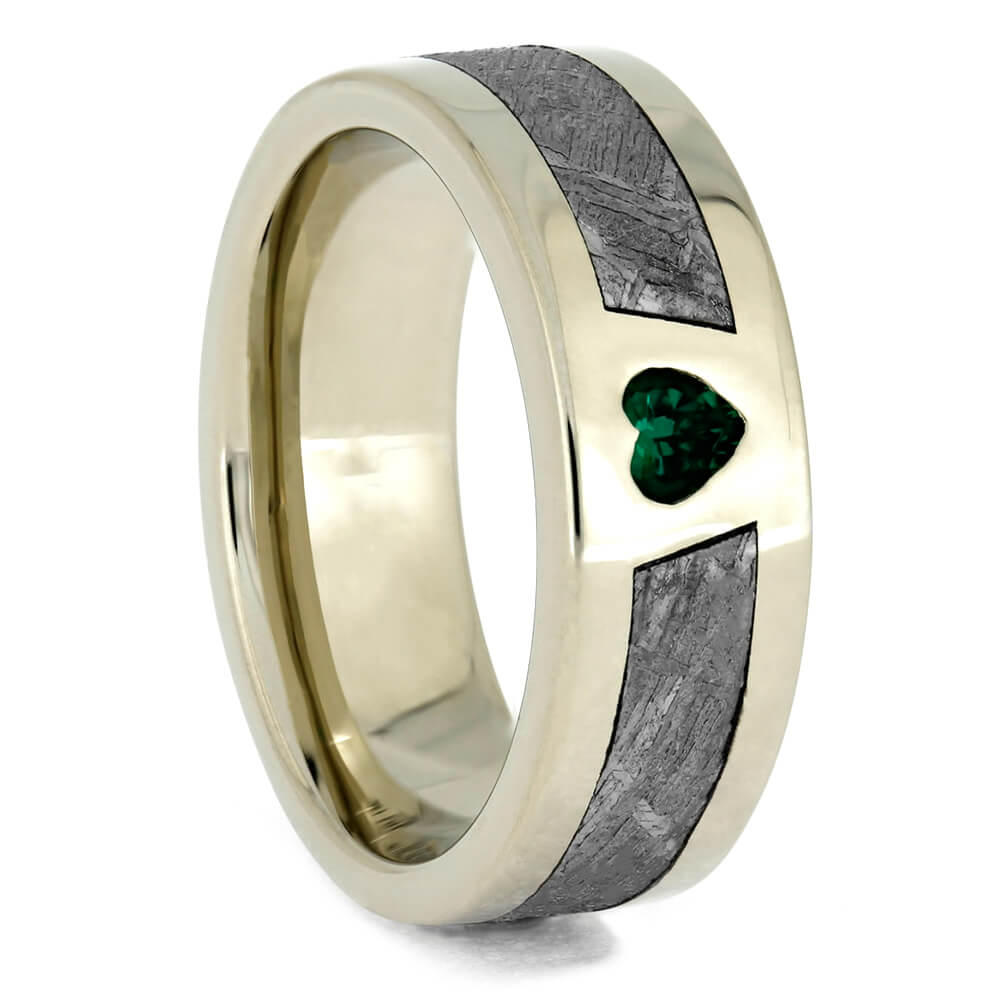 White Gold and Meteorite Wedding Band with Emerald Heart