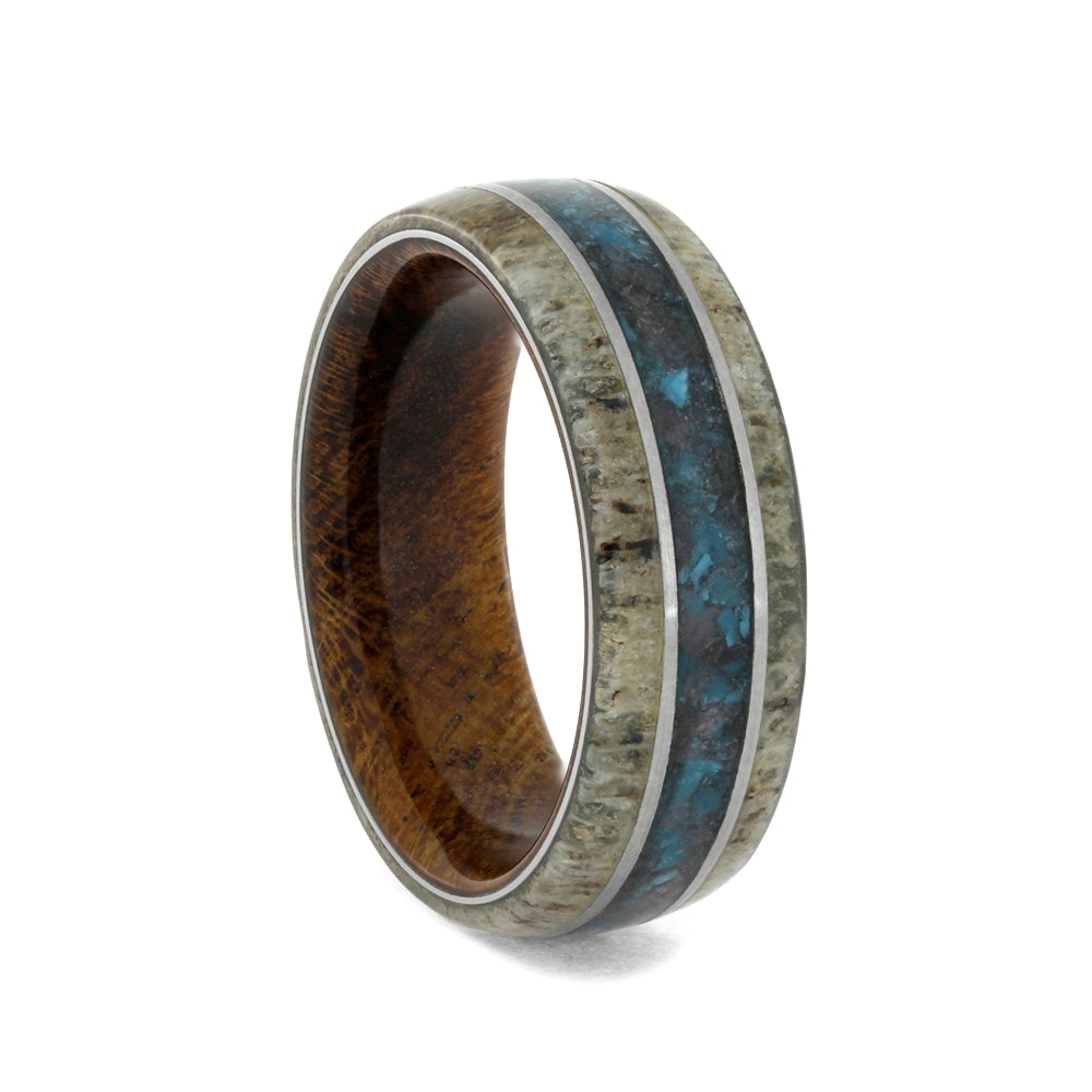 Crushed Turquoise, Ruby And Antler Wedding Band, Size 7-RS10043 - Jewelry by Johan