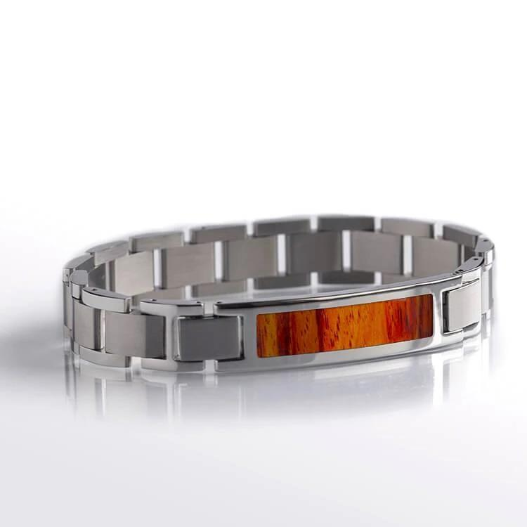 Interchangeable Bracelet with Tulipwood and Stainless Steel-RS10206 - Jewelry by Johan