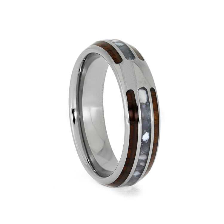 Mother of Pearl & Honduran Rosewood Titanium Ring