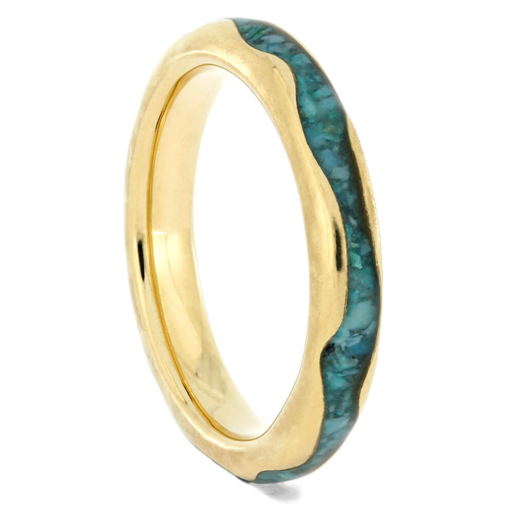 Wavy Yellow Gold Ring With Crushed Turquoise Inlay, Size 4-RS10314 - Jewelry by Johan