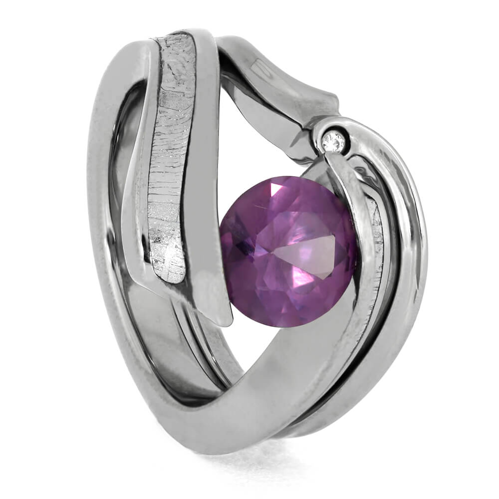 Alexandrite Engagement Ring with Matching Bridal Set