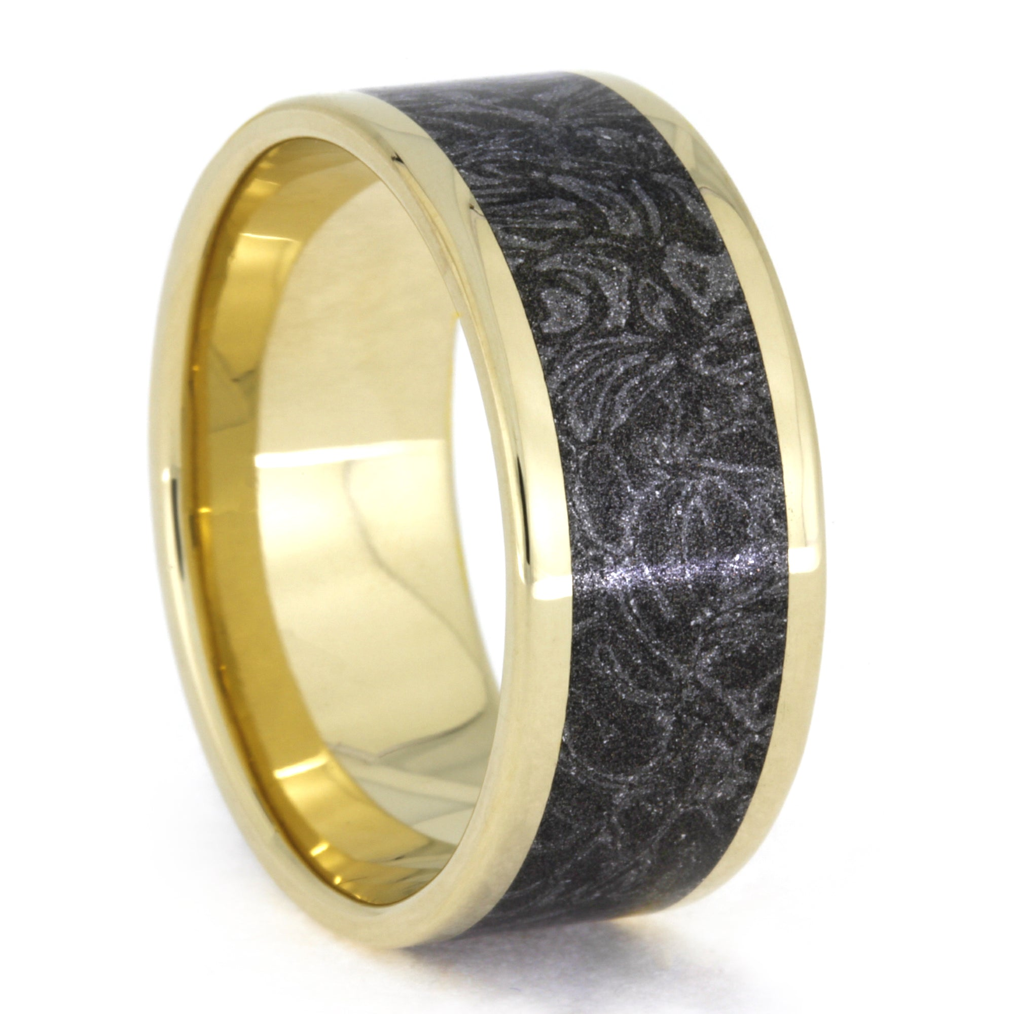 Black and White Mokume Gane Ring in Yellow Gold, Size 12.25-RS10317 - Jewelry by Johan