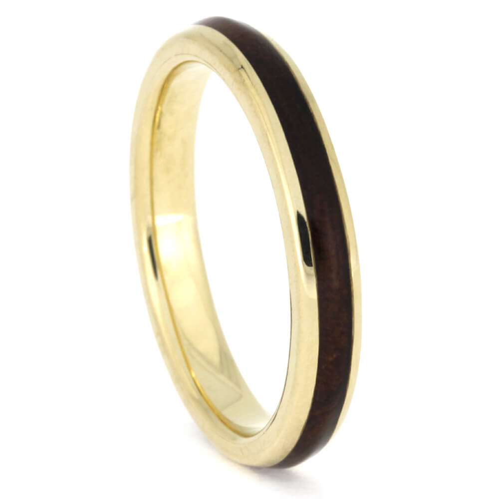 Thin Yellow Gold Wedding Band Inlaid with Natural Redwood, Size 7.75-RS10339 - Jewelry by Johan
