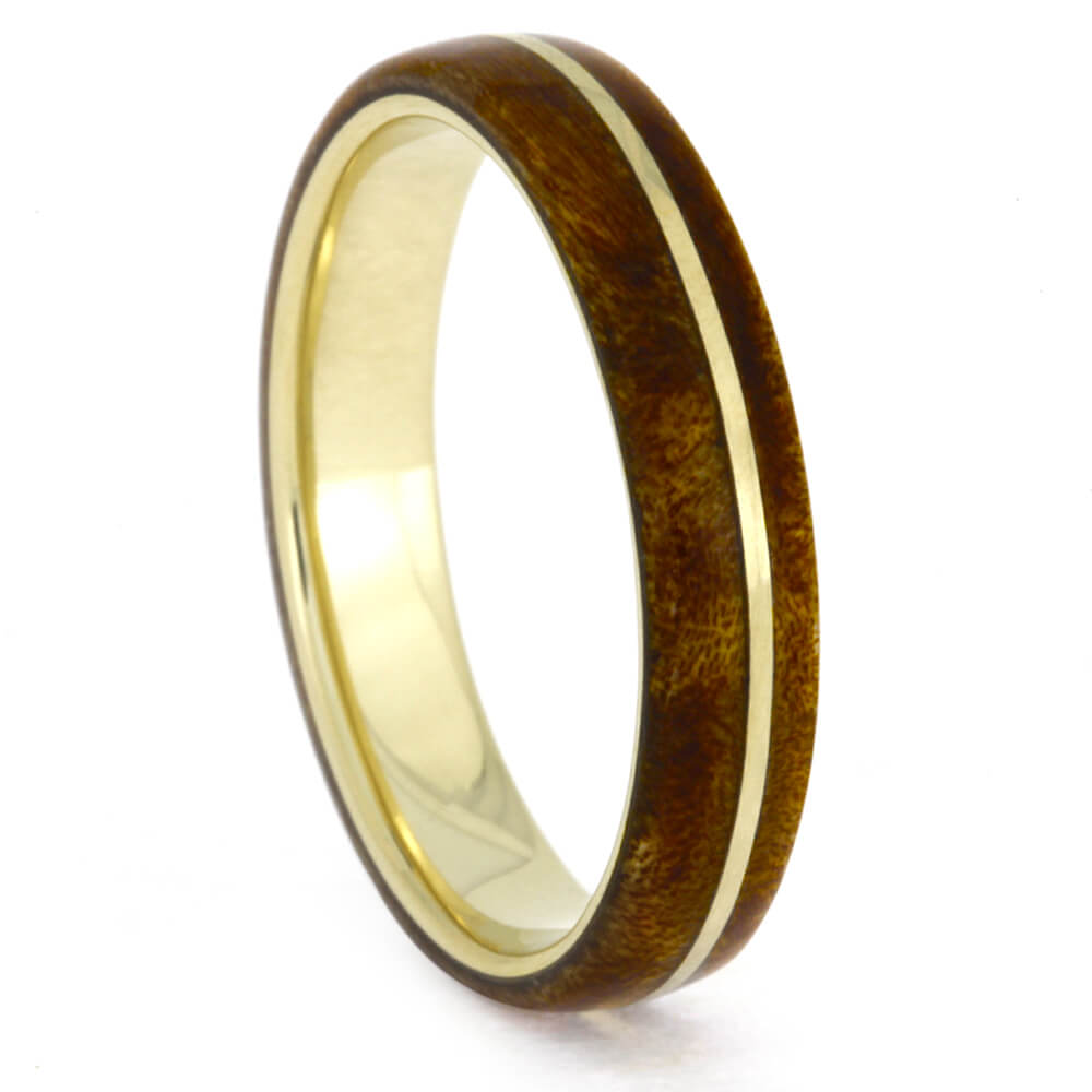 Thin Yellow Gold Ring with Maple Burl Wood, Size 8-RS10356 - Jewelry by Johan