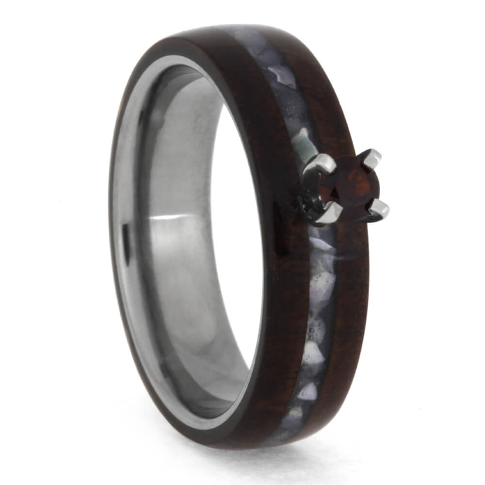 Titanium Garnet Engagement Ring With Honduran Rosewood, Size 5.5-RS10379 - Jewelry by Johan