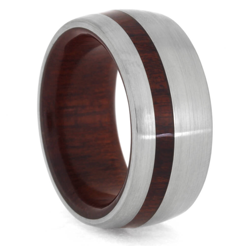 Round Bloodwood Ring in Titanium, Size 6.75-RS10380 - Jewelry by Johan