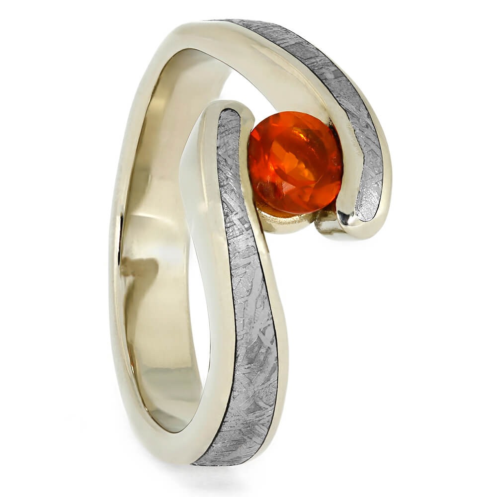 Opal Engagement Ring with Meteorite in White Gold Tension Setting, Size 8-RS10382 - Jewelry by Johan