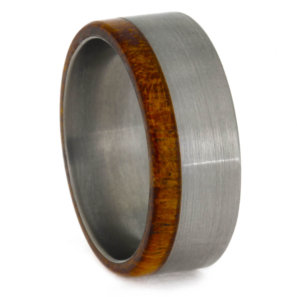 Brushed Titanium Ring with Mesquite Edge, Size 8-RS10383 - Jewelry by Johan